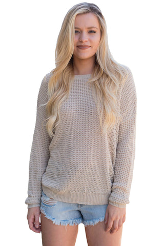 A| Chicloth Aprioct Cross Back Hollow-Out Sweater-Sweaters-Chicloth