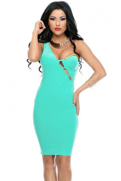 Chicloth Aqua One-shoulder Hollow-out Bodycon Dress