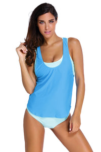 A| Chicloth Aqua Sports Bra Tankini Swimsuit With Blue Vest-Tankinis-Chicloth