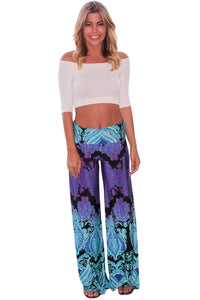 Chicloth Aqua and Purple Printed Palazzo Pants