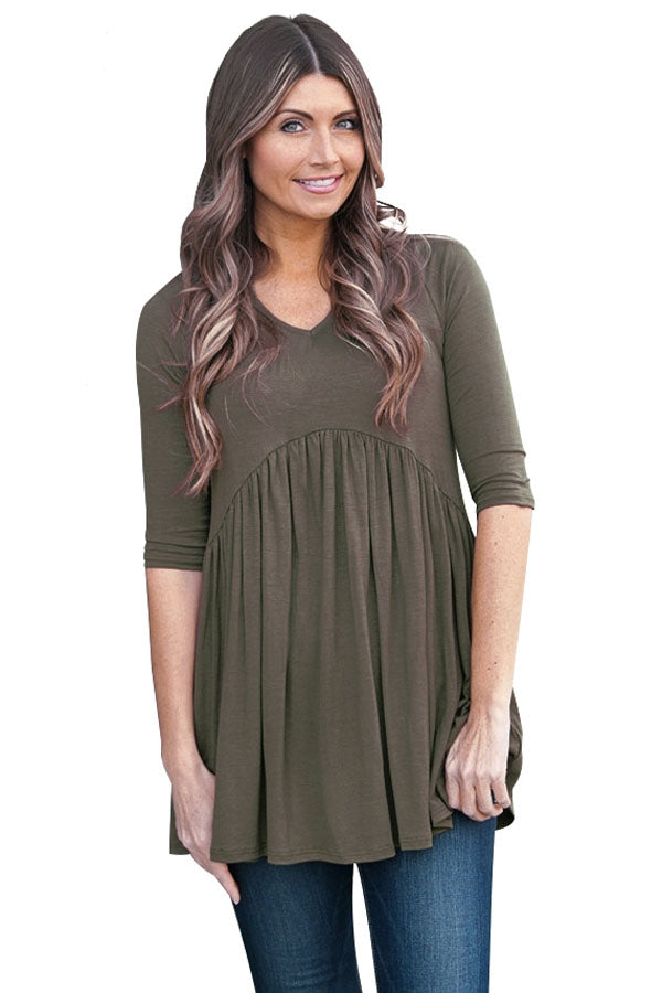 Chicloth Army Green 3/4 Sleeve Babydoll Tops-Women's Clothes||Blouses & Tops-Chicloth