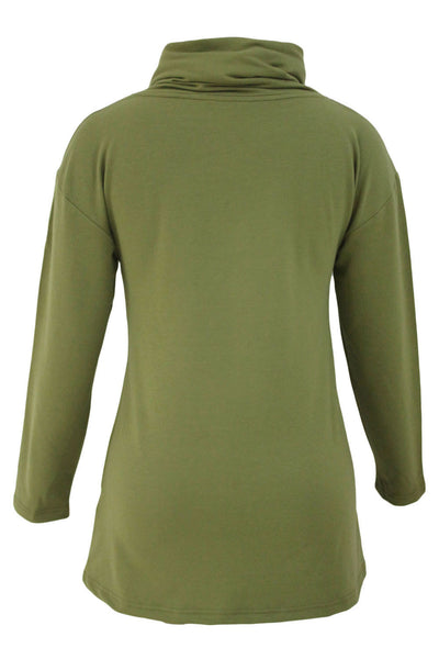 Chicloth Army Green Buttoned Cowl Neck Long Top