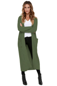 A| Chicloth Army Green Cable Knit Long Cardigan