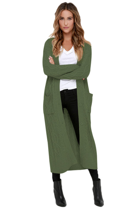 A| Chicloth Army Green Cable Knit Long Cardigan-Sweaters-Chicloth