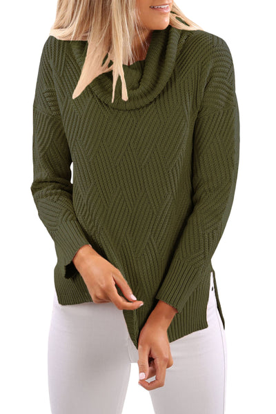 Chicloth Army Green Cowl Neck Side Split Sweater