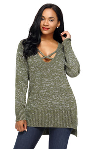 Chicloth Army Green Deep V Neck Crisscross Knit Sweater