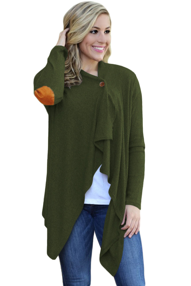 Chicloth Army Green Elbow Patch Women Cardigan