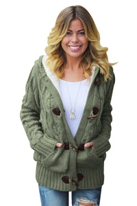 A| Chicloth Army Green Fur Hood Horn Button Sweater Cardigan