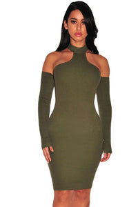 Chicloth Army Green Knit Ribbed Choker Off Shoulder Dress