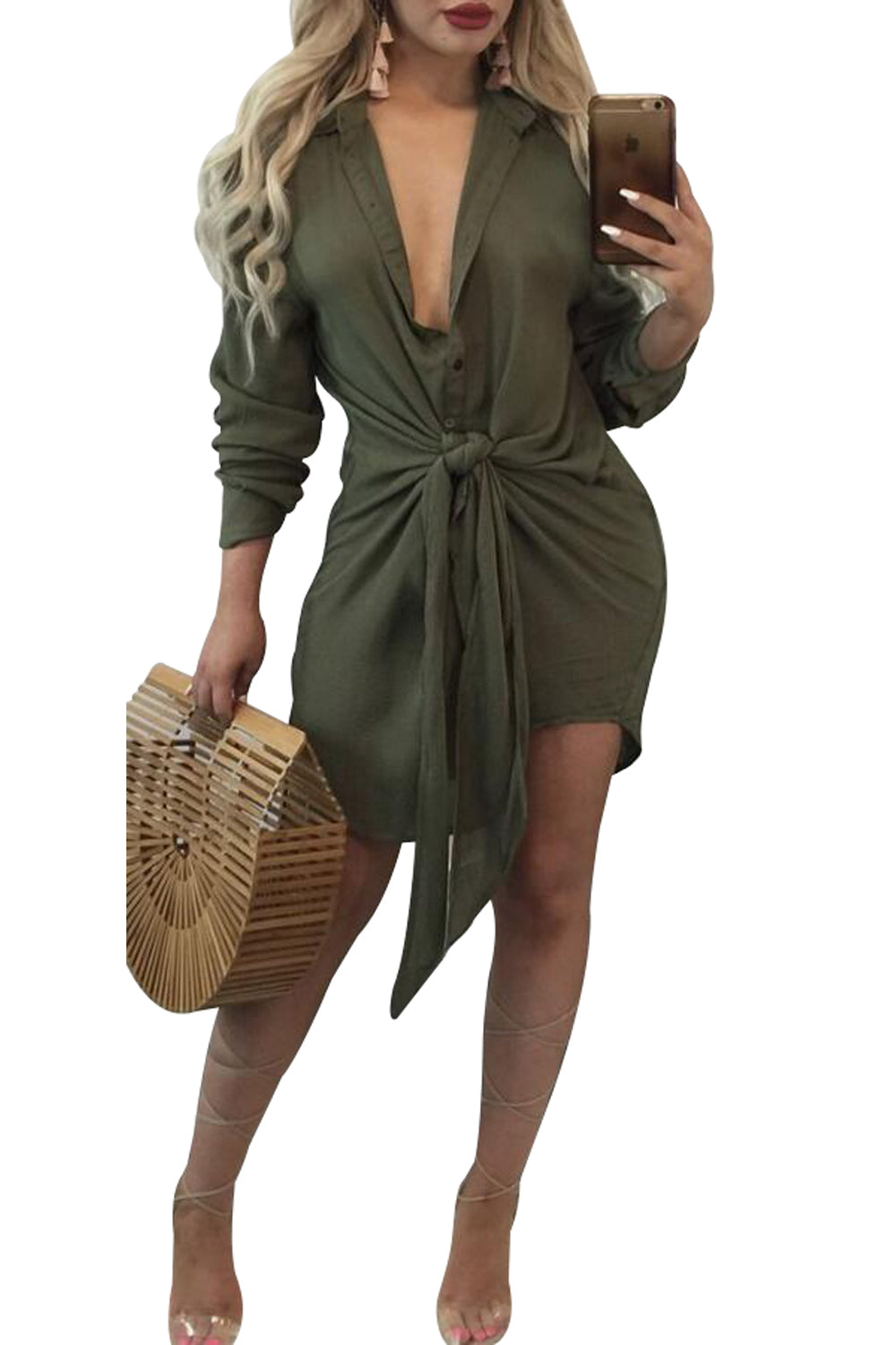 Chicloth Army Green Knot Tie Accent Button Down Shirtdress - S / Army Green