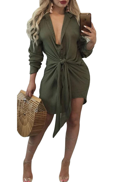 Chicloth Army Green Knot Tie Accent Button Down Shirtdress