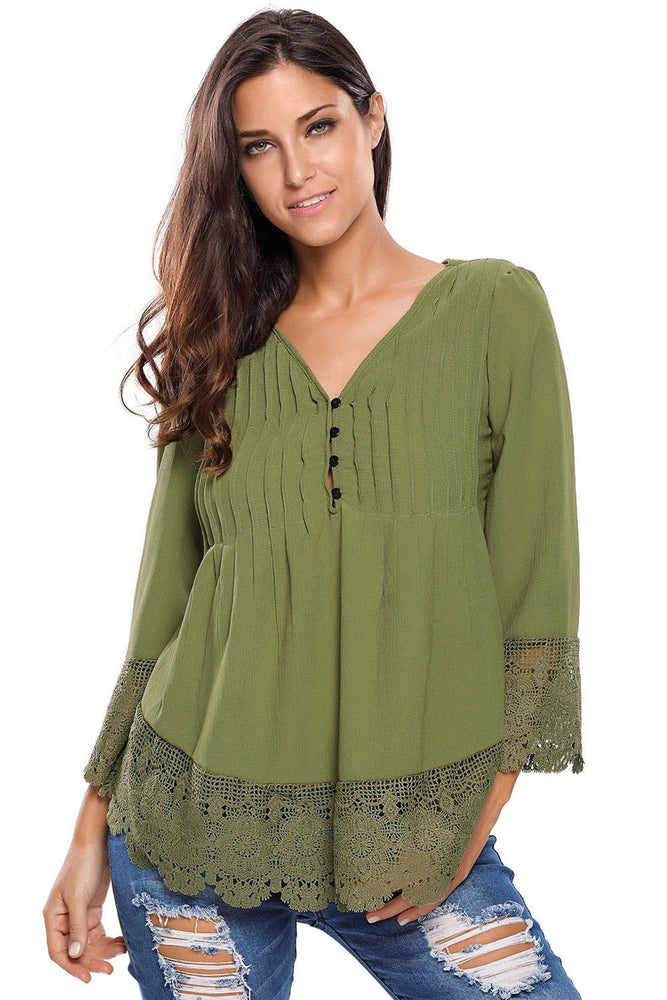 Chicloth Army Green Lace Detail Button Up Sleeved Blouse-Blouse-Chicloth