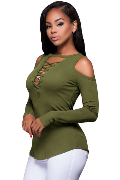 Chicloth Army Green Long Sleeve Cut-out Shoulder Ribbed Top