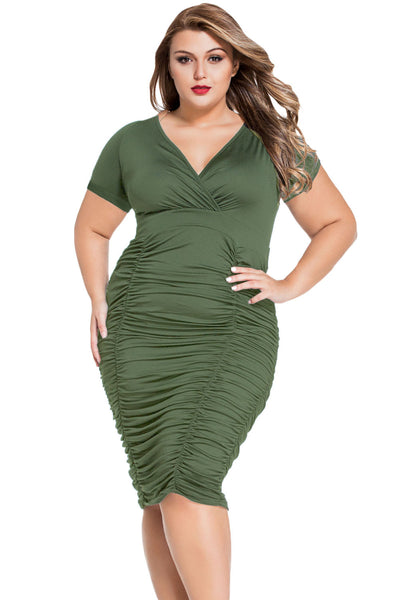 Chicloth Army Green Pleated Curvaceous Midi Dress