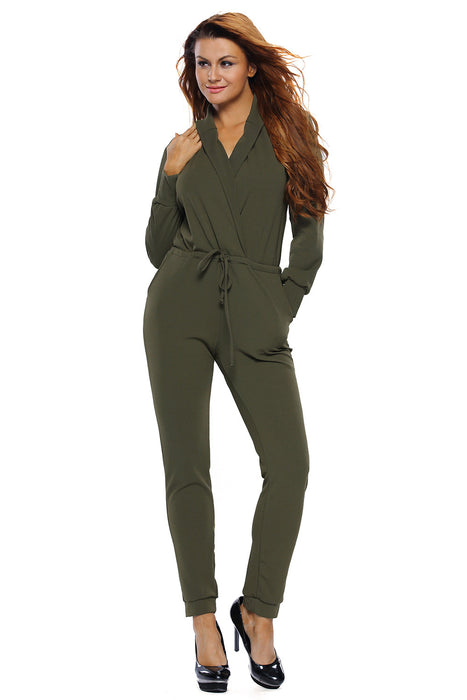 Chicloth Army Green Sleeve Jumper-Jumpsuits & Rompers-Chicloth