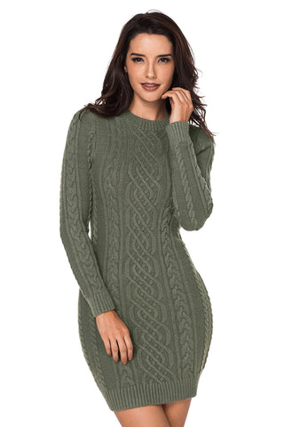 Z| Chicloth Army Green Slouchy Cable Sweater Dress