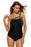 Chicloth Army Green Straps Accent Black One Piece Swimsuit-One piece Swimwear-Chicloth