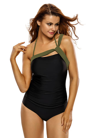 Chicloth Army Green Straps Accent Black One Piece Swimsuit