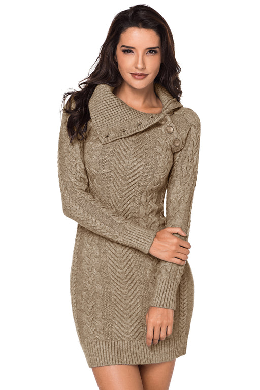 A| Chicloth Asymmetric Buttoned Collar Apricot Bodycon Sweater Dress-Sweater Dresses-Chicloth