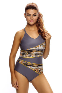 Chicloth Asymmetric Print Splicing Straps Cross Monokini in Gray