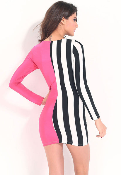 Chicloth Attention-getting Stripes and Solid Bodycon Dress