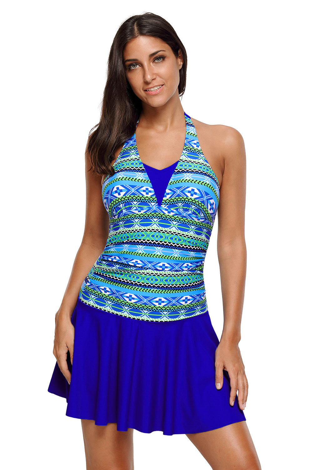 Chicloth Aztec Print Royal Blue Halterneck One Piece Swimdress