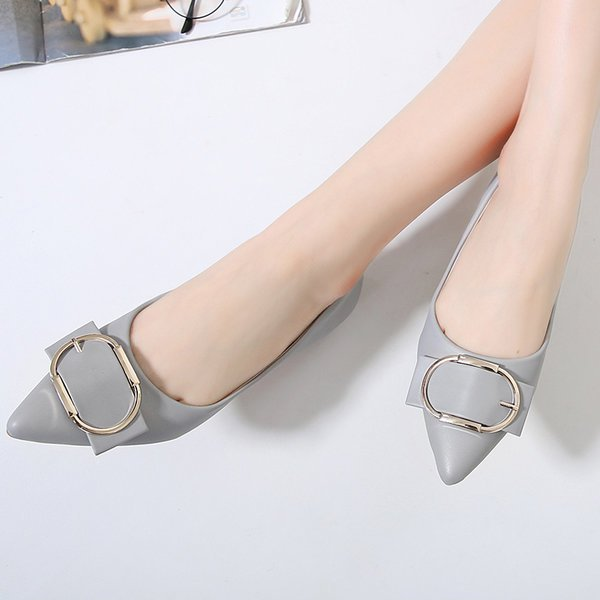 A| Chicloth Daily Metal Decoration Satin Pointed Toe Flats
