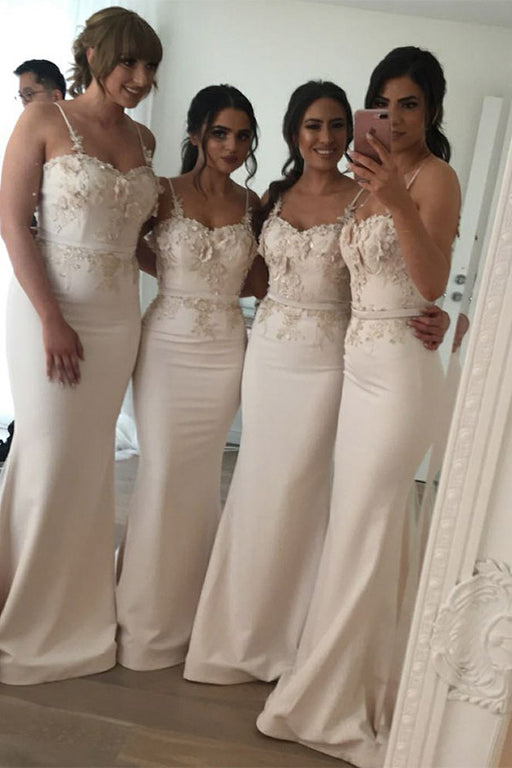 Chicloth Floral Lace Applique With Big Bow Sash Bridesmaid Dresses