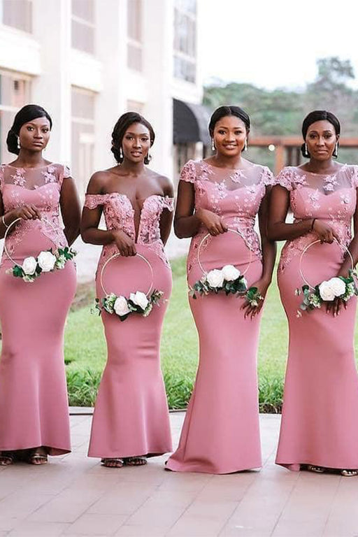 Chicloth Sheer Neck Appliques Floor Length Bridesmaid Dresses
