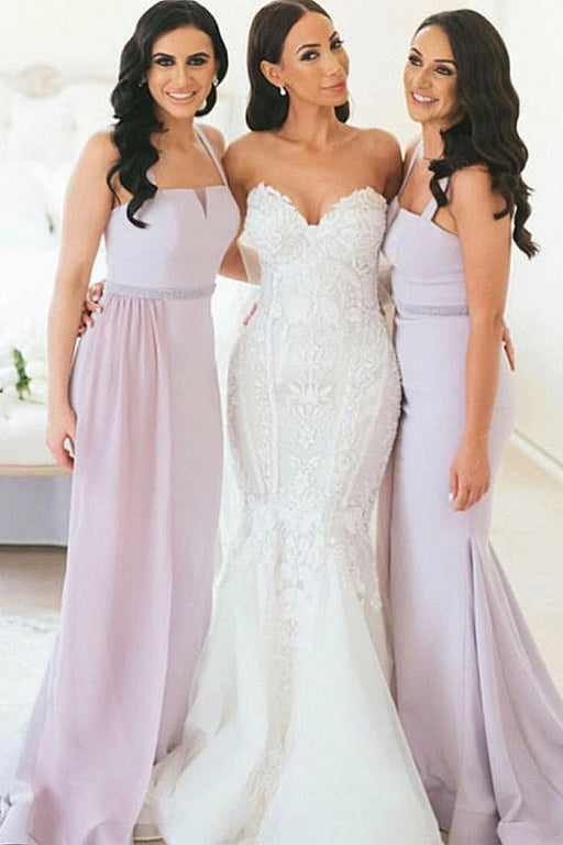 Chicloth Elegant Satin Mermaid Long Bridesmaid Dresses