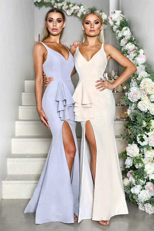 Chicloth V Neck Front Split Ruffles Peplum Bridesmaid Dresses