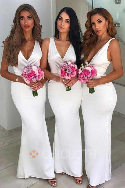 Chicloth Deep V Neck Mermaid Sleeveless Bridesmaid Dresses