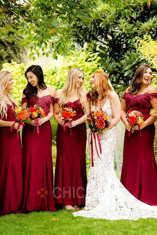 Chicloth Elegant Off Shoulder Appliqued Bridesmaid Dresses