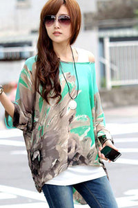 Chicloth Batwing Sleeve Floral Print Loose-Fitting Chiffon Blouse