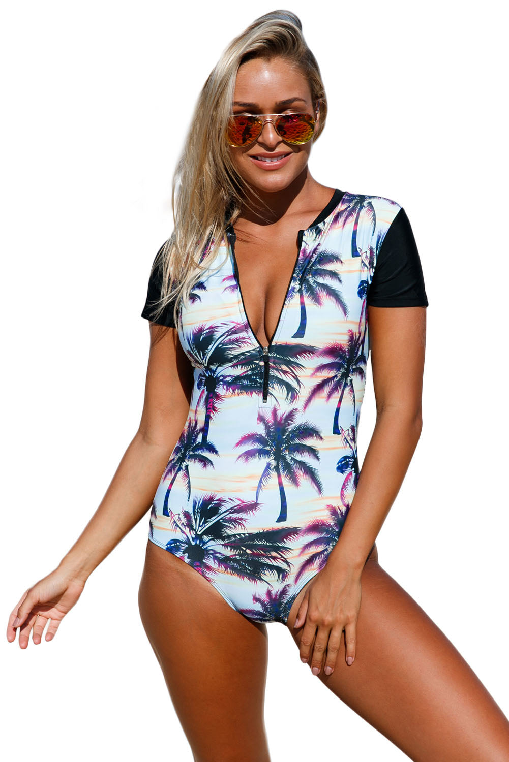 A| Chicloth Beach Sunset Zip Front Half Sleeve One Piece Swimsuit-Plus One-Piece Swimwears-Chicloth