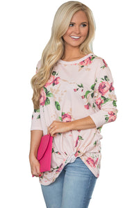 Chicloth Beige Long Sleeve Knotted Floral Print Blouse