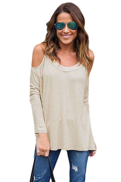 Chicloth Beige Long Sleeve Relaxed Fit Cold Shoulder Top