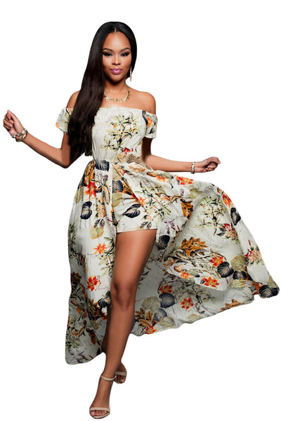 Chicloth Beige Multi-color Floral Long Romper