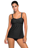 Chicloth Black 2pcs Swing Tankini Swimsuit