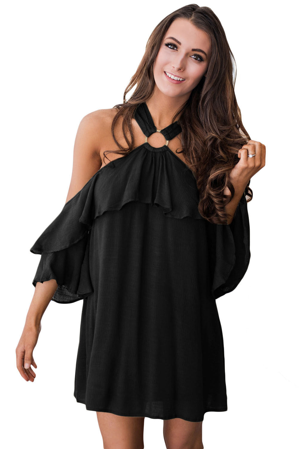 Chicloth Black Adorable Sexy O Ring Detail Ruffle Dress