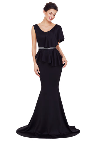 Chicloth Black Asymmetric Ruffle Peplum Mermaid Party Dress