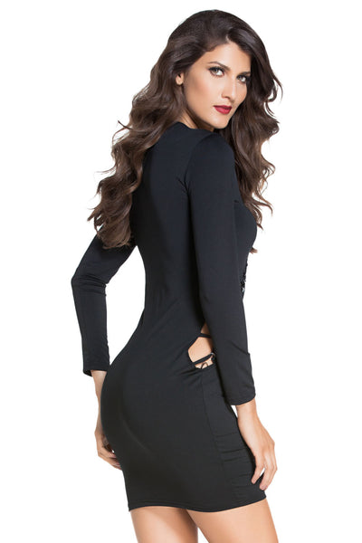 Chicloth Black Asymmetric Thick Lace Up Sleeved Bodycon Dress
