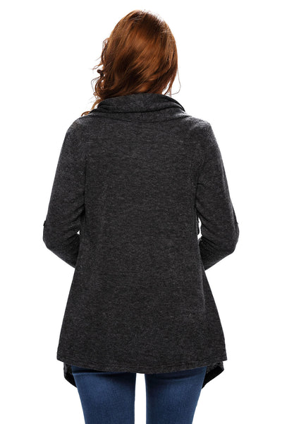 Chicloth Black Asymmetric Wrapped Women Sweater