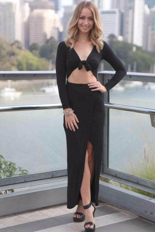 A| Chicloth Black Asymmetrical Draped Maxi Dress with Front Wrap Tie-Maxi Dresses-Chicloth