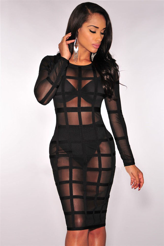 Chicloth Black Bandage Caged Panty Lined Dress