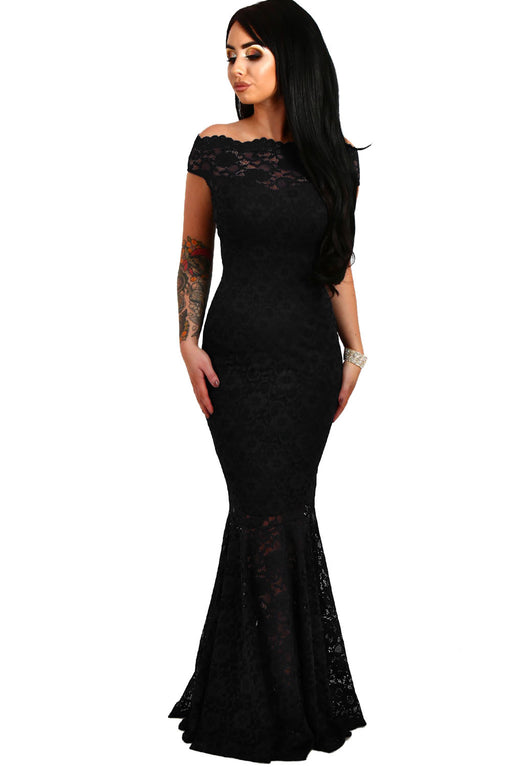A| Chicloth Black Bardot Lace Fishtail Maxi Dress-Evening Dresses-Chicloth