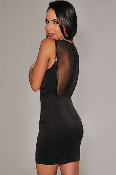 Chicloth Black Bodycon Drees With Mesh And Faux leather Trim
