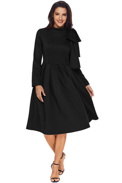 Chicloth Black Bowknot Embellished Mock Neck Pocket Dress
