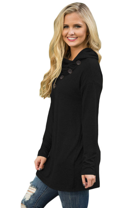 Chicloth Black Buttoned Cowl Neck Long Top-Blouse-Chicloth