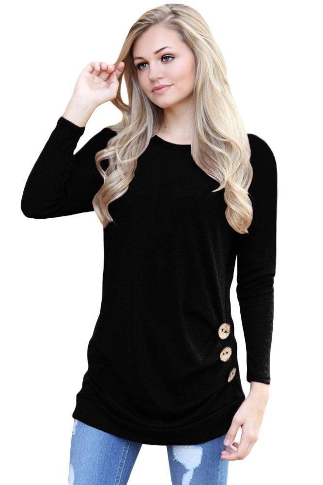 Chicloth Black Buttoned Side Long Sleeve Spring Autumn Womens Top